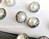 10% OFF, 10 pcs Paved CZ Freshwater pearl beads Pave diamond Freshwater pearl connector, Pave black zircon diamond JSR-7521