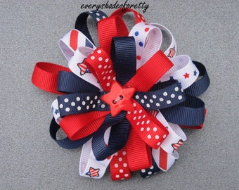 4th of July Loopy Bow--Patriotic Bow--Red, White and Navy--Girls loopy hairbow