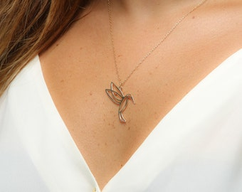 Silver Hummingbird Necklace, Sterling silver bird pendant, Hummingbird jewelry, Hummingbird Statement Necklace