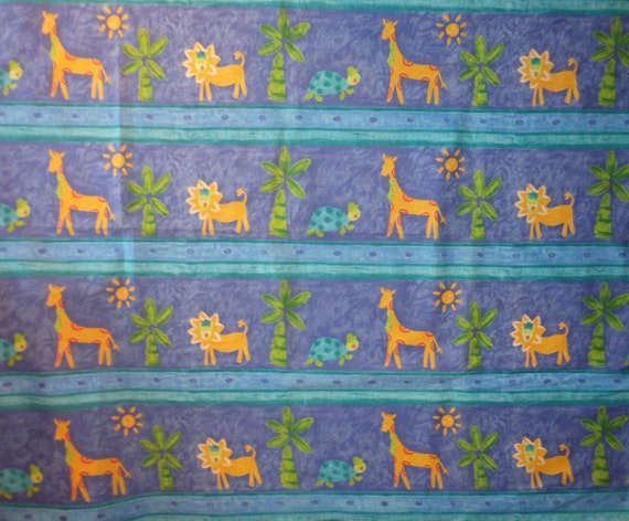 Cotton fabric children 39 s jungle border print by the for Childrens cotton fabric by the yard
