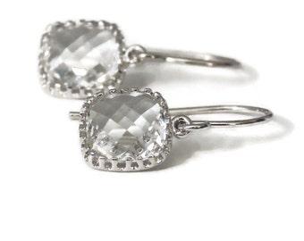 Gift Clear earrings Crystal bridal earrings Crystal earrings Square earrings Bridesmaid earrings Flower girl earrings Silver dangle earrings