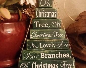 Oh Christmas Tree Stacked Blocks