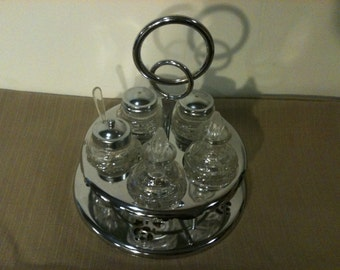 Condiment Set with Metal Carousel Holder