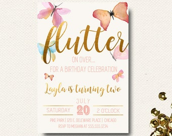 Butterfly Invitation Birthday Floral Boho Chic Gold Girls Garden Party