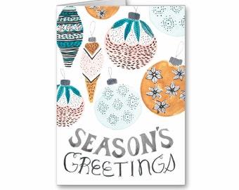 Seasons Greetings Watercolor Holiday Greeting Card, Christmas Card, Vintage Ornaments