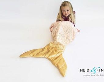 GOLD mermaid tail quilt blanket - Only 1 blankie sleeping bag