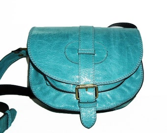 Turquoise Leather Saddle Bag Messenger Cross-body Purse Goldmann Size S