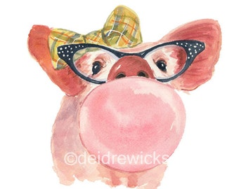 Pig Watercolor - 5x7 PRINT, Watercolour Painting, Bubble Gum, Pig in Glasses