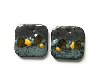 Sale Gray and yellow enamel charms Enameled copper earring charms Handmade artisan findings Jewelry components Square bead pair