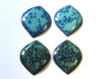 Enamel jewelry findings Enameled copper charms Artisan jewelry supplies Aqua blue petal drops Earring components Focal pendants