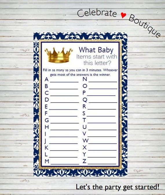Royal Baby Shower Instant Download What Baby Items Start