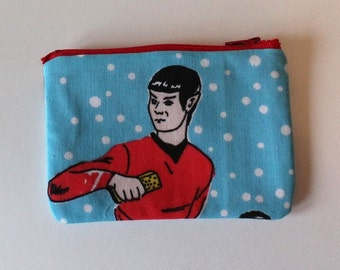 Star Trek Zipper Pouch - Small Zip Pouch Coin Purse Wallet - Upcycled made from vintage fabric