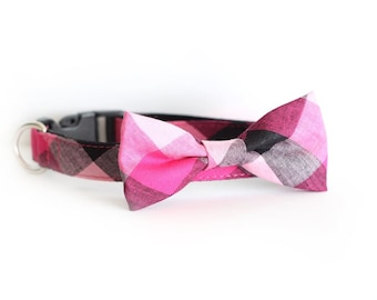 New Color! Embarcadero, Pet Cat Dog Bow tie, Collar, Leash Pink Plaid check, girl dog bow tie collar leash