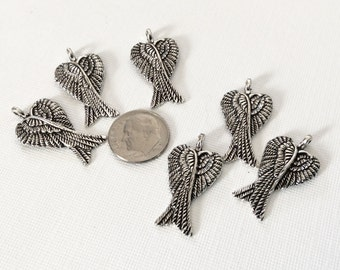 6 - Double Winged Pendants or Charms, antiqued ANGEL wings, bracelet or bangle charm, wing jewelry, angel wing necklace
