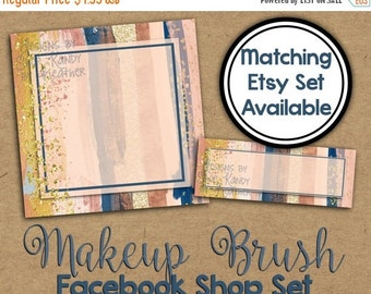 Watercolor Facebook Timeline Cover - Facebook Shop Set - Metallic Watercolor Profile Image - Facebook Shop Banner - Watercolor Shop Set
