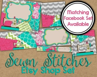 Etsy Banner Set - Etsy Cover Photo - Sewing Etsy Shop Graphics - Sewn Stitches Etsy Shop Banner - Embroidery Cover Image - Etsy Shop Set