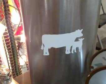 XLarge metal flask with cow calf pair