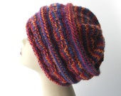 ALPACA MERINO Hand Knit Slouch Hat Beanie/  Warm Knit Hat/ Thoughtful Gift
