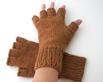 Hand Knit Half Finger GLOVES in ALPACA  / Berroco Ultra Alpaca / Tiger's Eye Mix, Steel Cut Oats, Pitch Black