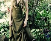 RESERVED XS/S Hemp Lycra Tally-ho Backless Cowl Neck Halter Dress