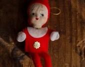 Vintage Papier Mache Felt Elf Doll Christmas Ornament Handpainted Face Rare