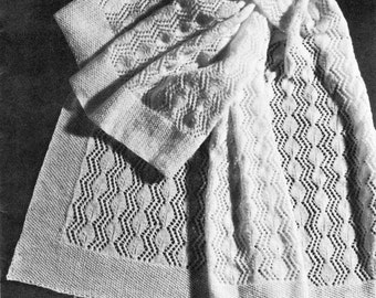 vintage knitting pattern diamond lace baby shawl blanket afghan 3 ply crib pram carriage cot car seat princess printable pfd download 1950