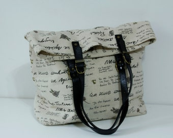 SALE-Tote bag with Genuine Leather strap