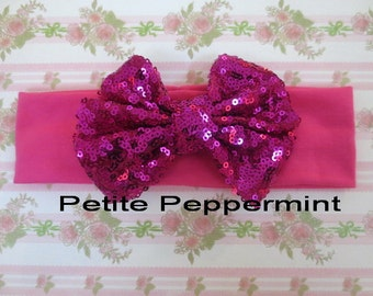 Hot Pink Baby headband, Baby Headband Bow, Baby Hair Bow, Infant Headband, Baby Head Wrap, Baby Turban, Sequin Bow Headband, Pink Baby Bow