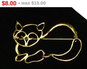 Vintage Kitty Cat Brooch - Large Goldtone Wire Sillouette - Feline Outline Pin