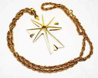 Vintage Trifari White Cross Pendant on a Skinny Chain Necklace - Designer Signed Enamel Jewelry