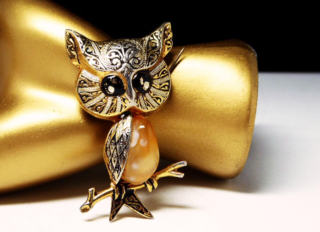 Vintage Owl Brooch Made In Spain Spanish By Thejewelseeker