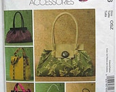 McCalls 4936 Sewing Pattern, Misses' Fashion Accessories, Handbags, Bags, Totes, Tote Bags, Purses UNCUT
