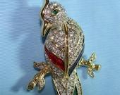 Vintage Brooch or Pin Tropical BIRD w/ RHINESTONES Cockatiel