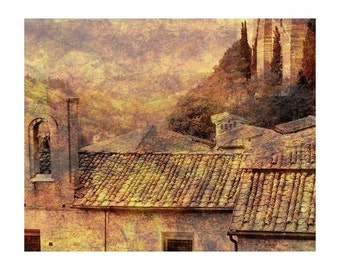 """Fine Art Sepia Photography of Siena Landscape - """"View Over Siena"""" - Vintage Style Print of Tuscany"""