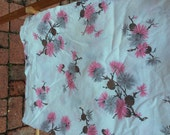 Vintage Curtain Panels 11 in all And Small Valances Pink thistle Flowers and Pinecones Pink and Grey Fruit of the Loom Label Lot of Fabric