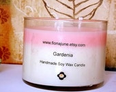 Gardenia Scented Vegan Soy Wax Candle, Pink & White Double Wick Layered Candle, 12 oz Jar Candle