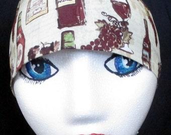 Cream Color w Wine Items Skull or Chemo Cap, Hats, Head Wrap, Motorcycle, Biker, Do Rag, Grapes, Wine Bottles, Surgical Cap, Men,Women,