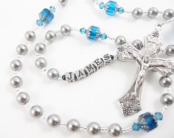 Personalized Rosary for a Boy in Gray and Zircon Blue - Baptism, First Communion, or Confirmation Gift