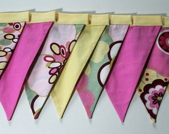 Fabric Banner Bunting, Abstract Floral Fabric by Designer Alexander Henry Pink, Yellow, Sage Green