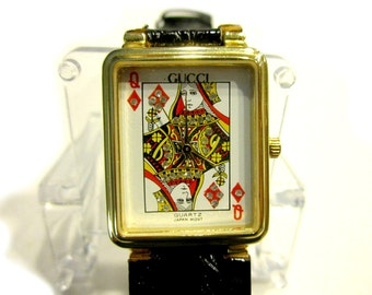 Queen of Diamonds Watch Card Face Rhinestone Black Leather
