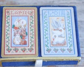 Vintage Novelty Playing Cards, Bunny Rabbits - Swans Deck of Cards, Congress Cards from Spain, Spring Easter Gift for Card Game Lover, Blue