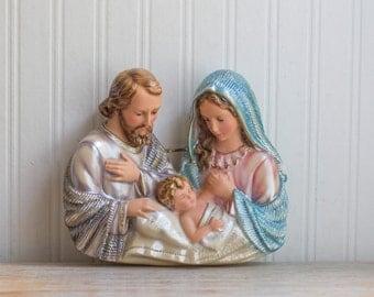 Vintage Chalkware Jesus Mary and Joseph, Columbia Statuary, Religious Art Plaque, Nativity Art, Ornate Catholic, Christian Decor