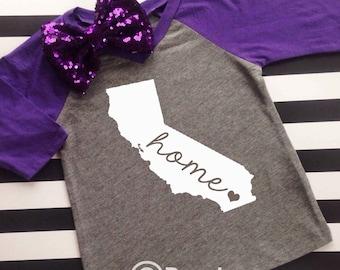 Home State Shirt kids shirt any state shirt kids state shirt home shirt California any state kids shirt