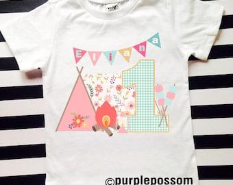 Camp Birthday Shirt Girls Camping Birthday Shirt Any Age and Name Happy Camper Birthday Shirt Outdoor theme first birthday 2nd birthday 1234