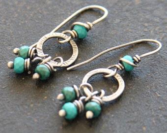 Petite Sterling Silver Dangle Earrings,  Stamped Metalwork Earrings, Turquoise Silver Earrings