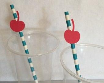 Cupcake Straws - Paper Straws - Striped Paper Straws - Teal and White Striped Straws - Cherry Paper Straw - Cupcake Party Decor