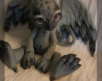 Griff the Griffon - ball joint doll BJD - Grey resin