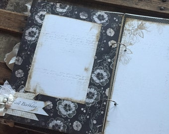 Vintage Theme Shabby Baby Black, White, and Cream Handmade Baby Girl Book, - Rustic Baby Girl - Cottage Chic - Ready to Ship
