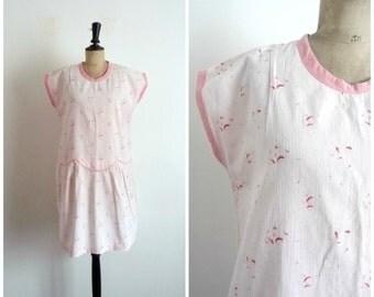 Vintage 60s Day Dress Cotton Light Pink / Size M