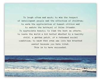 Inspirational Quote Print, Success, Ocean Landscape Photography